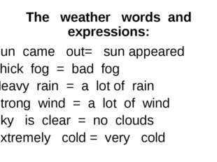 The weather words and expressions: Sun came out= sun appeared Thick fog = bad