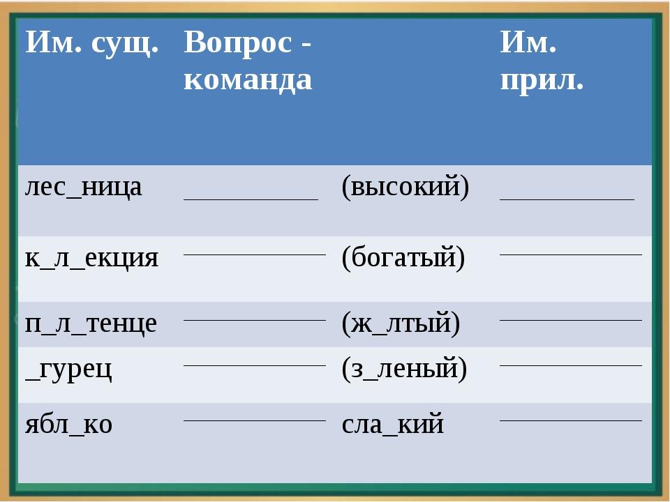 Им. сущ.Вопрос - командаИм. прил. лес_ница __________________(высокий)...