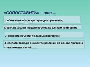 «СОПОСТАВИТЬ» – это ... 1. обозначить общие критерии для сравнения; 2. сделат