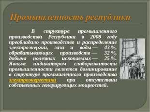 В структуре промышленного производства Республики в 2008 году преобладало п
