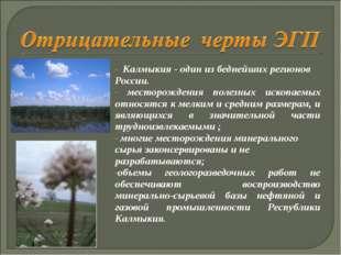 Калмыкия - один из беднейших регионов России. месторождения полезных ископа
