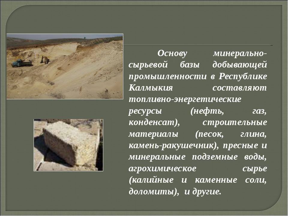 Основу минерально-сырьевой базы добывающей промышленности в Республике Калмы...