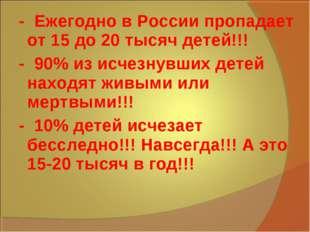 - Ежегодно в России пропадает от 15 до 20 тысяч детей!!! - 90% из исчезнувши