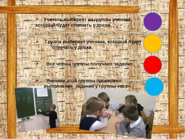 Учитель выбирает из группы ученика, который будет отвечать у доски. Группа вы...