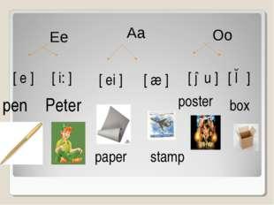 [ e ] [ i: ] [ ei ] [ æ ] [ əu ] [ ɔ ] pen Peter paper stamp poster box Ee Aa