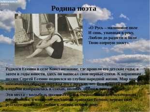 Родина поэта Родился Есенинв селе Константинове, где прошли его детские годы
