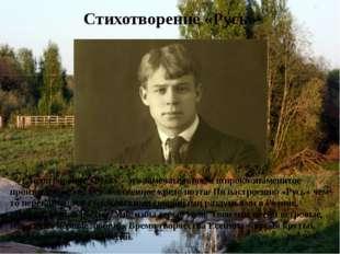 Стихотворение «Русь» Стихотворение «Русь»– это замечательное и широко знамен