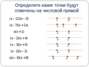 Определите какие точки будут отмечены на числовой прямой (x – 11)(x – 3) (x -