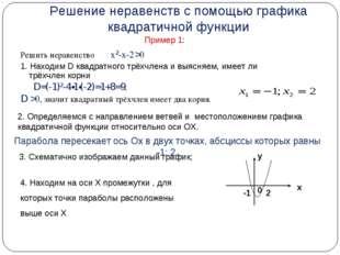 Решение неравенств с помощью графика квадратичной функции Пример 1: Решить не