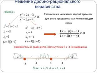 Решение дробно-рационального неравенства Пример 1 Разложим на множители кажды