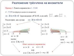 Разложение трёхчлена на множители Пример 1: Решить неравенство х2 – 9 > 0 х2