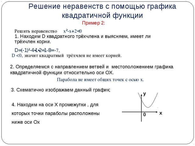Пример 2: Решить неравенствох²-х+2