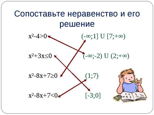 х²-4>0 (-∞;1] U [7;+∞) х²+3х≤0 (-∞;-2) U (2;+∞) х²-8х+7≥0 (1;7) х²-8х+7