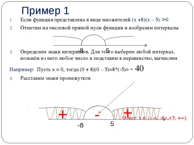 Пример 1 Если функция представлена в виде множителей (х +8)(х – 5) > 0 Отмети...