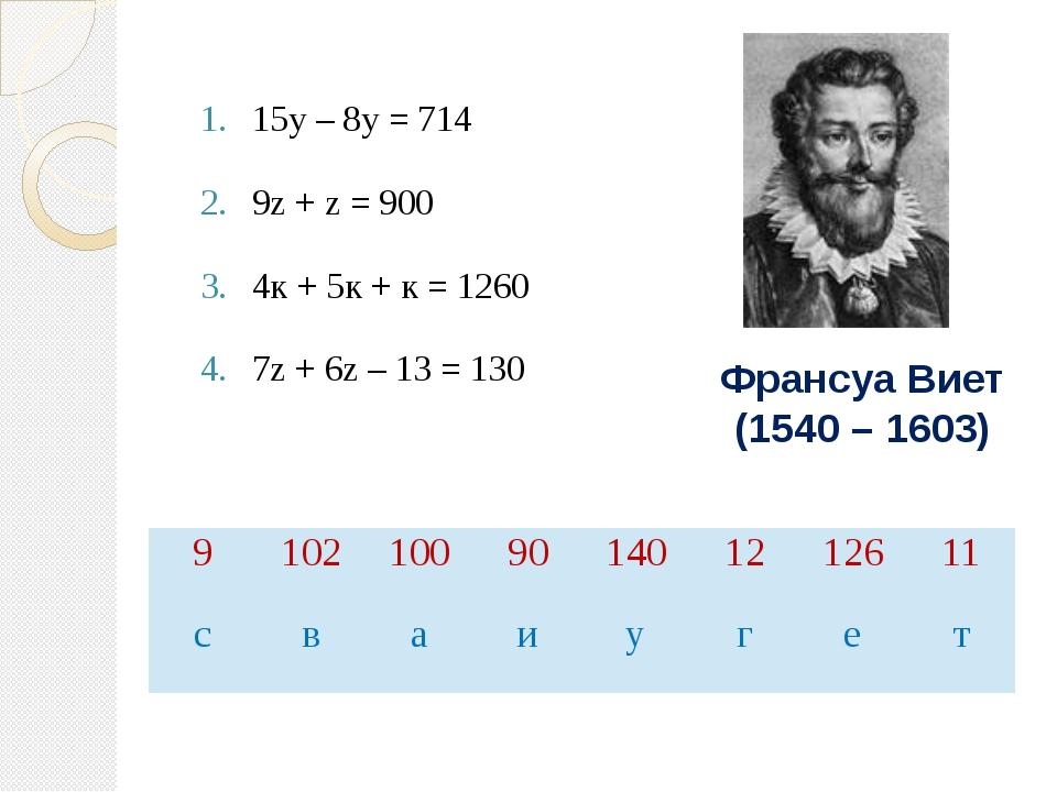15у – 8у = 714 9z + z = 900 4к + 5к + к = 1260 7z + 6z – 13 = 130 Франсуа Вие...