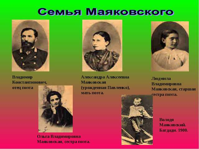 Владимир Константинович, отец поэта Александра Алексеевна Маяковская (урожден...
