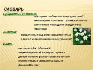 Природный комплекс Эндемик Елань (природное сообщество, природная зона) - зак