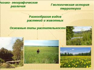 Разнообразие видов растений и животных Физико- географические различия Геолог