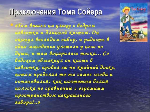Приключения Тома Сойера «Том вышел на улицу с ведром известки и длинной кисть...