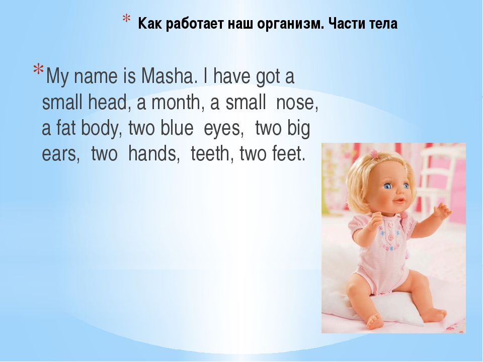 Как работает наш организм. Части тела My name is Masha. I have got a small he...