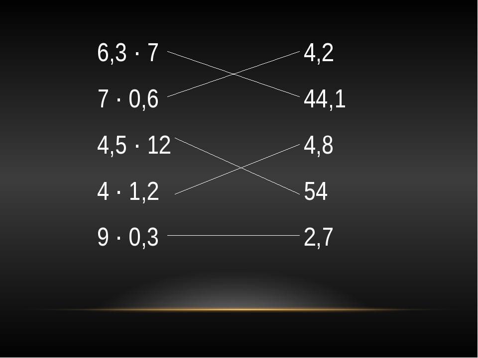 6,3 ∙ 7 7 ∙ 0,6 4,5 ∙ 12 4 ∙ 1,2 9 ∙ 0,3 4,2 44,1 4,8 54 2,7