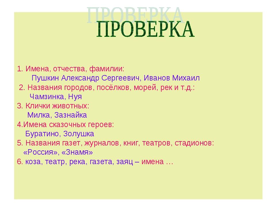 1. Имена, отчества, фамилии: Пушкин Александр Сергеевич, Иванов Михаил 2. На...