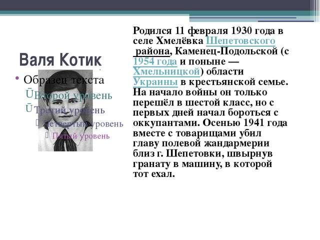 Валя Котик Родился 11 февраля 1930 года в селе Хмелёвка Шепетовского района,...
