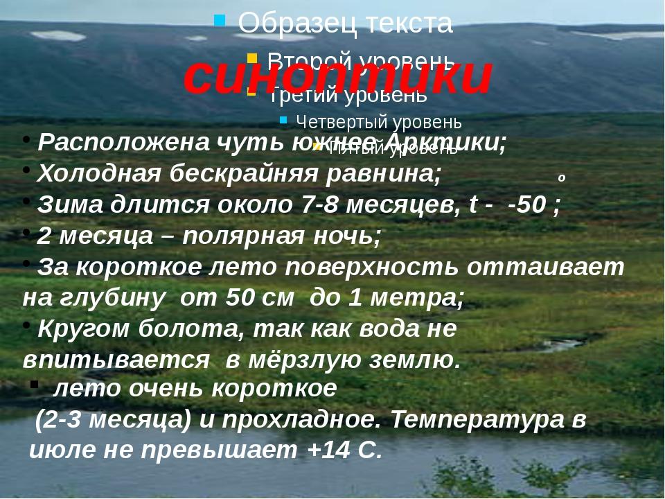 синоптики Расположена чуть южнее Арктики; Холодная бескрайняя равнина; o Зима...