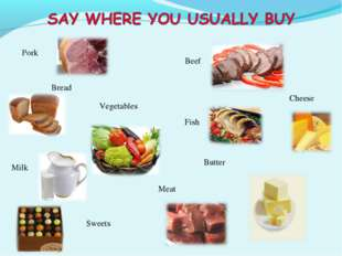 Pork Bread Vegetables Beef Butter Milk Sweets Meat Cheese Fish