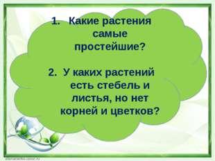 Какие растения самые простейшие? 2. У каких растений есть стебель и листья, н