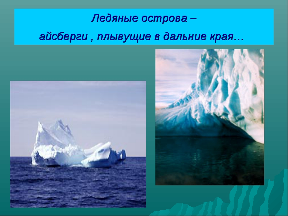 Ледяные острова – айсберги , плывущие в дальние края…
