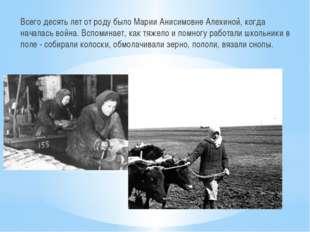 Всего десять лет от роду было Марии Анисимовне Алехиной, когда началась война