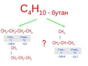 С4Н10 - бутан CH3–CH2–CH2–CH3 CH3 | CH3–CH–CH3 ? CH3 | CH2–CH2–CH3 t