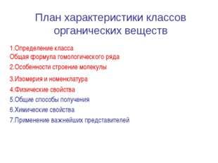 План характеристики классов органических веществ 1.Определение класса Общая ф