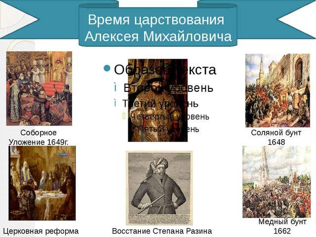 Время царствования Алексея Михайловича Соборное Уложение 1649г. Церковная ре...