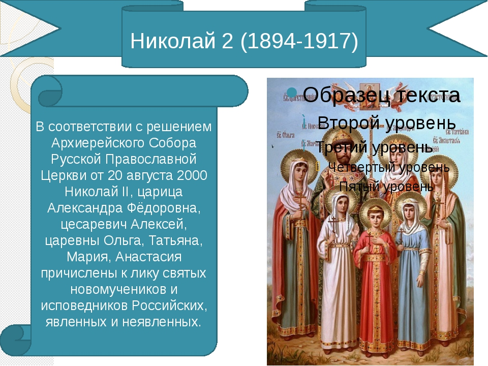 Николай 2 (1894-1917) В соответствии с решением Архиерейского Собора Русской...