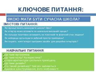ЗМІСТОВІ ПИТАННЯ: Які функції мають виконувати школа? Офіс? Як інтер'єр може