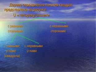 Дерево определения понятия квадрат представлено на рисунке U = четырехугольн