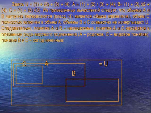 Здесь U = (1) + (2) + (3) + (4); А = (1) + (2) / (3) + (4); В= (1) + (3) /(2...