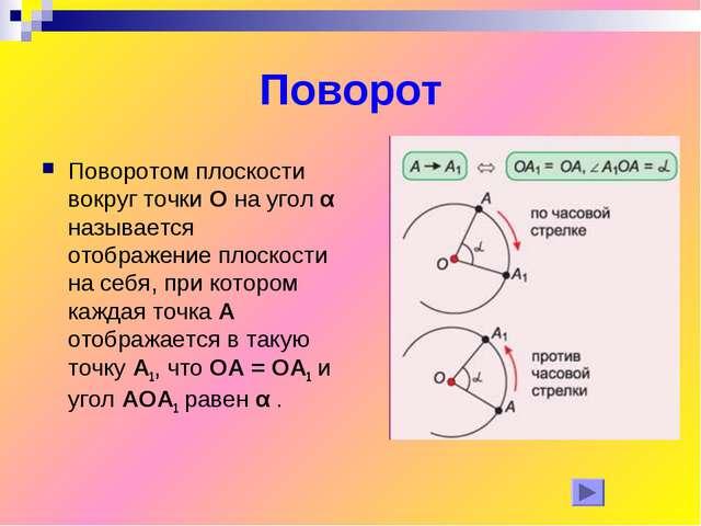 Поворот Поворотом плоскости вокруг точки О на угол α называется отображение п...