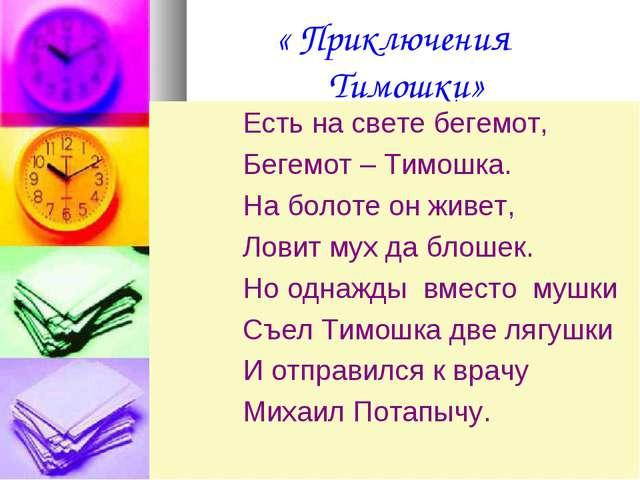 « Приключения Тимошки» Есть на свете бегемот, Бегемот – Тимошка. На болоте о...
