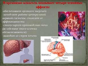 В организме алкоголь оказывает четыре основных эффекта: -обеспечивает организ