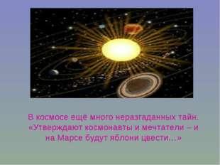 В космосе ещё много неразгаданных тайн. «Утверждают космонавты и мечтатели –