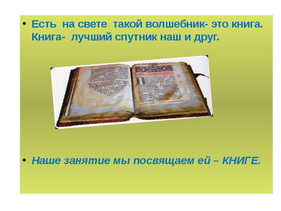 Есть на свете такой волшебник- это книга. Книга- лучший спутник наш и друг....