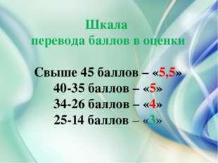 Шкала перевода баллов в оценки Свыше 45 баллов – «5,5» 40-35 баллов – «5» 34-