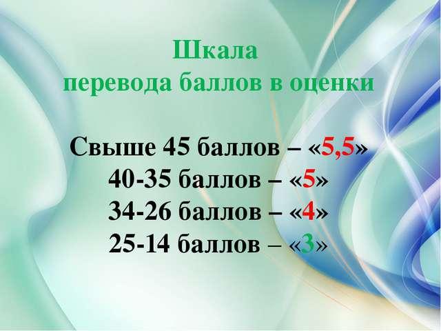 Шкала перевода баллов в оценки Свыше 45 баллов – «5,5» 40-35 баллов – «5» 34-...