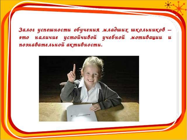 Залог успешности обучения младших школьников – это наличие устойчивой учебной...