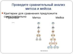 Проведите сравнительный анализ митоза и мейоза Критерии для сравнения предлож