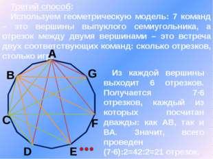 Третий способ: Используем геометрическую модель: 7 команд – это вершины выпу