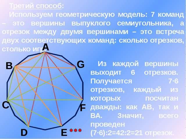 Третий способ: Используем геометрическую модель: 7 команд – это вершины выпу...